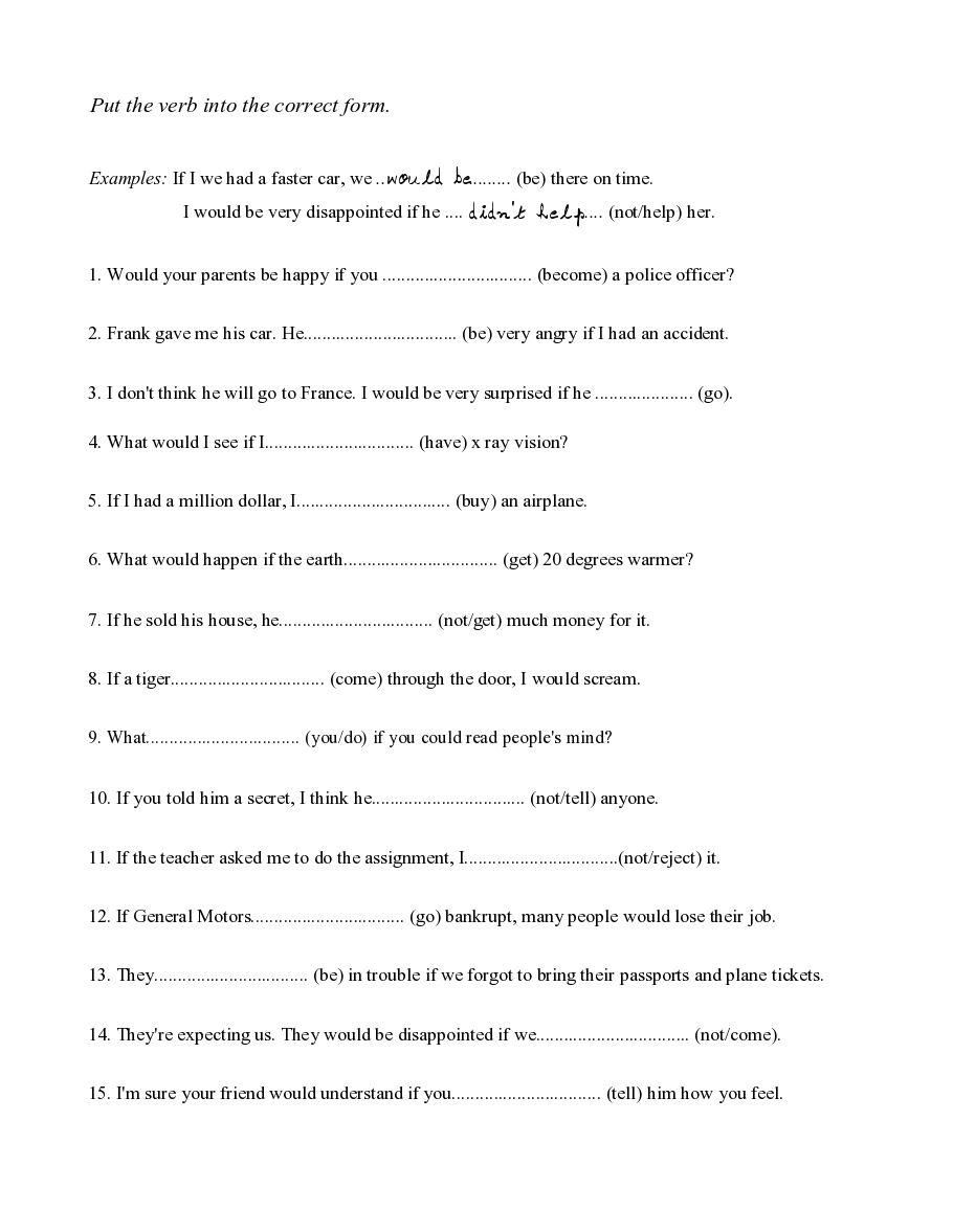 Workbooks spanish past tense worksheets : if sentences present and future worksheet - conditionals ...