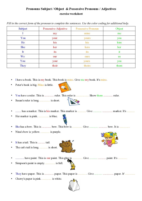 Workbooks nouns verbs adjectives worksheets : Possessive Pronouns Adjectives exercise worksheet - nouns ...