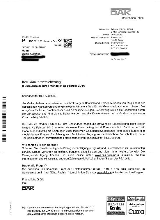 Brief Für Arbeitgeber : Abzocke durch krankenkassen zusatzbeiträge brennpunkt